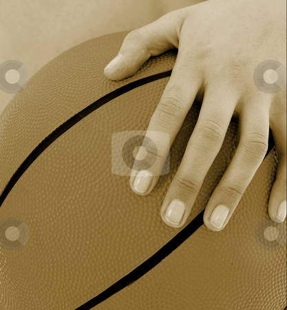 Basketball Girl #9 stock photo, Girl with Basketball and Black top - Sepia Tone by Sean Nel