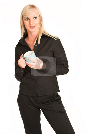 Business Woman #304 stock photo, Blond business woman dressed in black trousers and a black shirt.  Holding a mug.  Looking worried. by Sean Nel