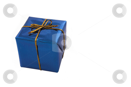 Blue Gift #1 stock photo, Blue gift with golden ribbon - copy space by Sean Nel