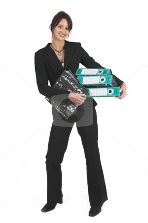 Business Lady #82 stock photo, Business woman with black Lever Arch Files by Sean Nel