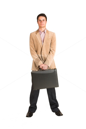 Businessman #136 stock photo, Businessman standing, holding a black leather suitcase. by Sean Nel