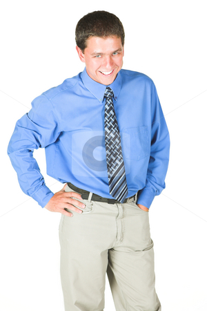 Young adult businessman stock photo, Young adult Caucasian businessman wearing a blue shirt and blue tie on a white background. NOT ISOLATED by Sean Nel