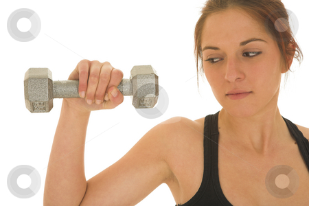 Gymbunny #33 stock photo, Brunette with black top with weights by Sean Nel