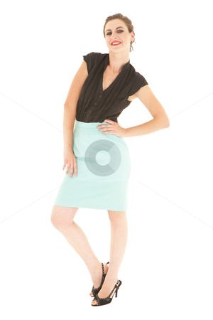 Sexy brunette businesswoman stock photo, Sexy young adult Caucasian businesswoman in a tight black sexy blouse on a white background by Sean Nel