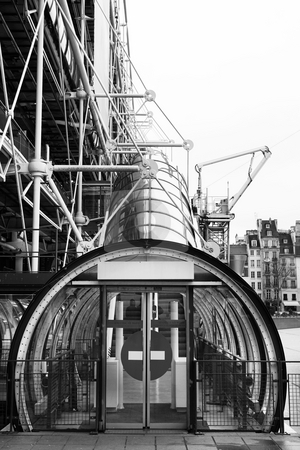 Paris #75 stock photo, The Centre Pompidou Industrial structure (museum) in Paris, France. Black and white. by Sean Nel