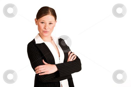 Business Woman #212(GS) stock photo, Business woman dressed in a pinstripe suit, standing with arms crossed. Copy space by Sean Nel