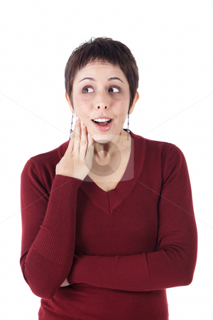 Young adult woman stock photo, Cute young adult caucasian woman with short hair in a red top on a white background in various poses, with various facial expressions. Not Isolated by Sean Nel