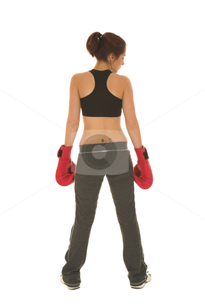 Boxer #17 stock photo, Brunette with red boxing gloves by Sean Nel