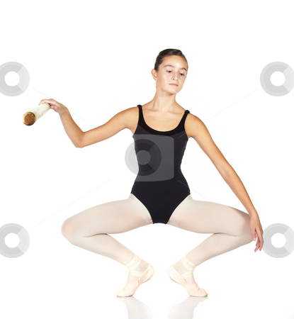 Ballet Steps stock photo, Young caucasian ballerina girl on white background and reflective white floor showing various ballet steps and positions. Full Plie in first Position.  Not Isolated. by Sean Nel