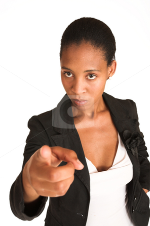 Mida Matsimela #16 stock photo, African business woman dressed in black jacket.  Pointing finger.  Shallow DOF - finger out of focus, face in focus. by Sean Nel
