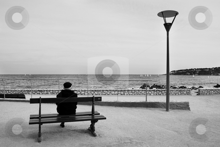 Benchman #02 stock photo, Man on Bench, next to the sea - High Key, Black and White by Sean Nel