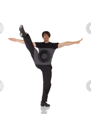 Single male tap dancer stock photo, Single Caucasian male tap dancer wearing black pants showing various steps in studio with white background and reflective floor. Not isolated by Sean Nel