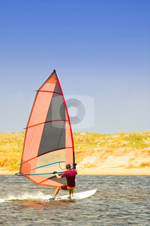 Windsurfer #20 stock photo, Fast moving windsurfer on the water at Keurbooms Lagoon, South Africa  by Sean Nel