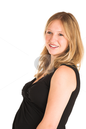 Business Woman #503 stock photo, Pregnant Business Woman, wearing black top, smiling by Sean Nel