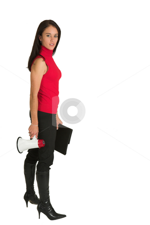 Woman with megaphone stock photo, Sexy young adult Caucasian businesswoman in black striped pants and a red top with a black leather folder and a megaphone by Sean Nel