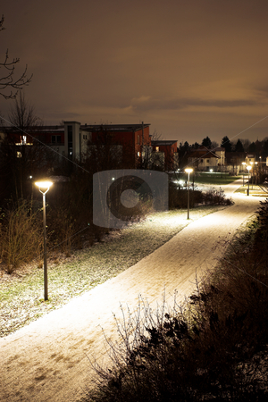Munich #05 stock photo, Desolate streets of Munich at nightime, covered in snow. by Sean Nel