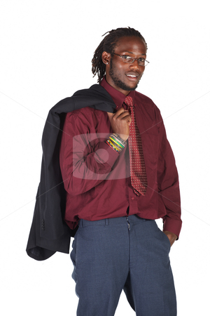 Handsome African businessman stock photo, Handsome African businessman with glasses holding the jacket on white background. Not isolated by Sean Nel