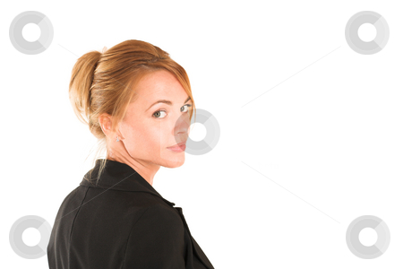 Businesswoman #236 stock photo, Blonde business lady in formal black suit. Copy space by Sean Nel