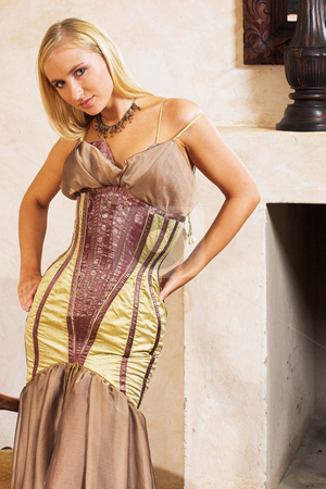 Fashion #3 stock photo, Blonde woman in tight fitting dress by Sean Nel