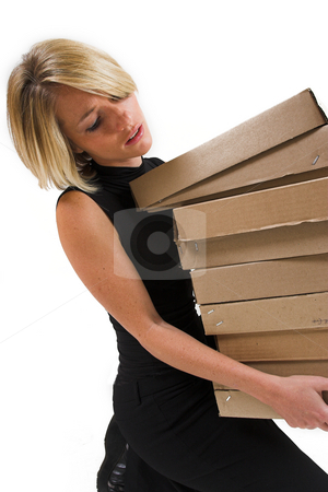 Business Lady #26 stock photo, Blond Business woman carrying boxes by Sean Nel