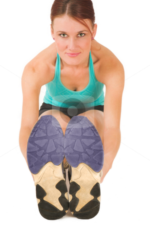 Gym #23 stock photo, A woman in gym clothes, wearing red boxing gloves.  Shallow depth of field, face out of focus, shoes in focus. by Sean Nel