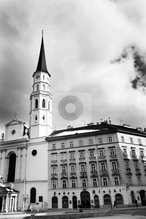 Building in Vienna stock photo, Tall building with tall tower in Vienna, Austria. Black and white by Sean Nel