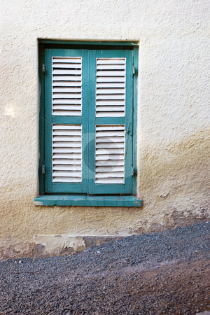Window #2 stock photo, Turquois and white shuttered window by Sean Nel