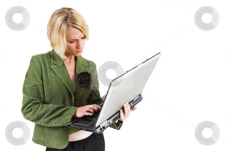 Business Lady #11 stock photo, Blond Business woman with notebook computer by Sean Nel