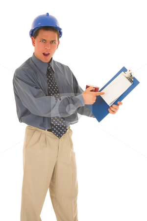Businessman #104 stock photo, Man being upset pointing at paper. by Sean Nel