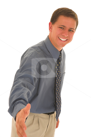 Businessman #90 stock photo, Man greets with a smile. by Sean Nel