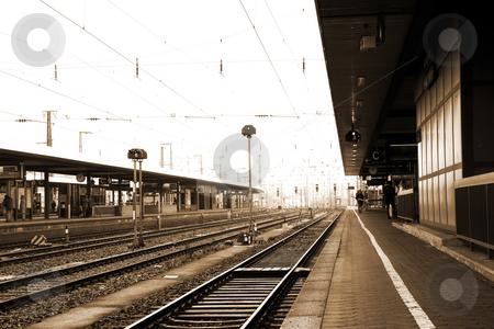 Neurenburg #69 stock photo, Trainstation in Neurenburg, Germany.  Sepia tone. Movement on person walking by Sean Nel