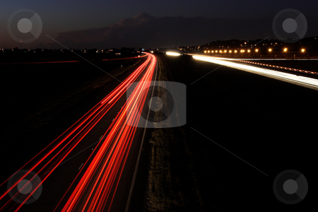 Roads #3 stock photo, Light trails on highway by Sean Nel