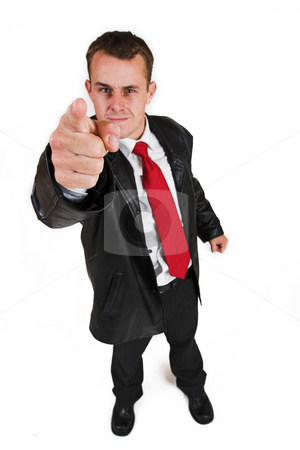 Business man #28 stock photo, Business man in a suit with a red tie - Pointing his finger (hand in focus, face out of focus) by Sean Nel