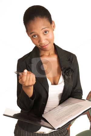 Mida Matsimela #10 stock photo, African business woman dressed in black jacket. Holding pen and file by Sean Nel