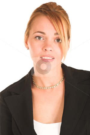 Businesswoman #246 stock photo, Blonde business lady in formal black suit. Portrait.  Looking worried. by Sean Nel