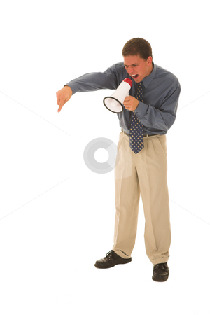 Businessman #115 stock photo, Man yelling over a microphone. by Sean Nel
