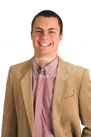 Businessman #196 stock photo, Businessman in a pink shirt and camel coloured jacket, smiling. by Sean Nel