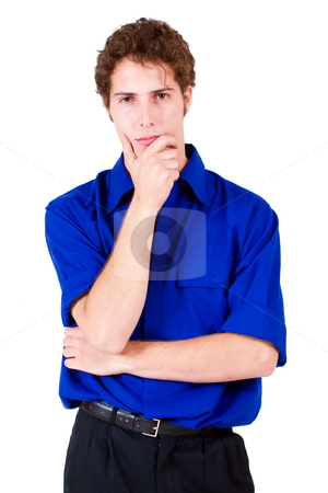 Businessman #68 stock photo, Businessman in blue shirt, thinking by Sean Nel