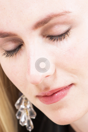 Faces #11 stock photo, Face of a young blonde woman - closed eyes by Sean Nel