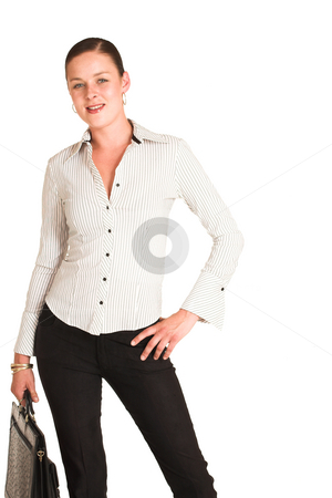 Business Woman #30 stock photo, Business woman dressed in a white pinstripe shirt. Carrying a leather suitcase by Sean Nel