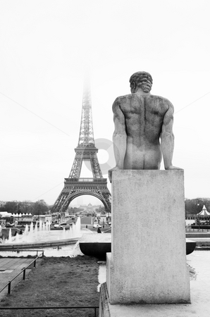 Paris #40 stock photo, A statue in the foreground with the Eiffel Tower in Paris, France in the background.  Copy space. by Sean Nel