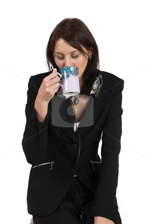Luzaan Roodt #8 stock photo, Business woman in formal black suit, drinking coffee - eyes closed by Sean Nel