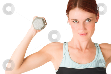 Gym #95 stock photo, Woman doing weight lifting. by Sean Nel