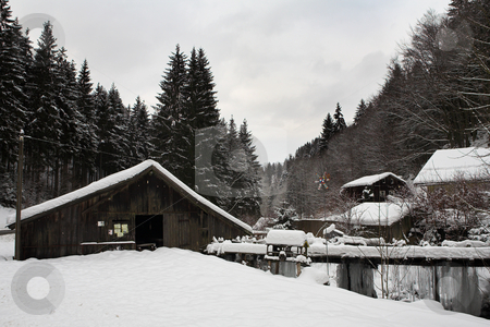 Snow Landscape #12 stock photo, Small Snowcovered Town in the German Alps by Sean Nel