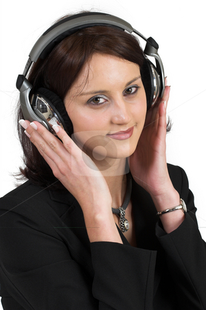 Music #4 stock photo, Woman with earphones - Eyes open by Sean Nel