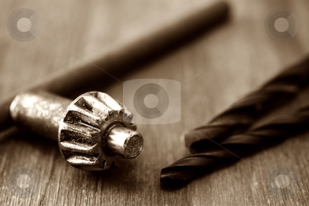 Tools#004 stock photo, Sepia tone, Tools on wooden table by Sean Nel