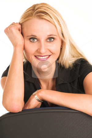 Business Woman #381 stock photo, Blond business woman, dressed in a black clothes. by Sean Nel