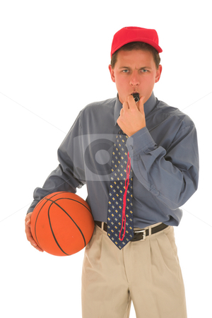 Coach #25 stock photo, Man wearing a red cap holding, a basket ball and blowing on a whistle. by Sean Nel
