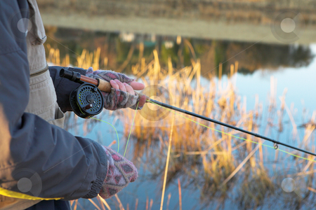 Flyfishing #21 stock photo, A fly fishermans spinner - Focus on spinner and line, Shallower DOF by Sean Nel
