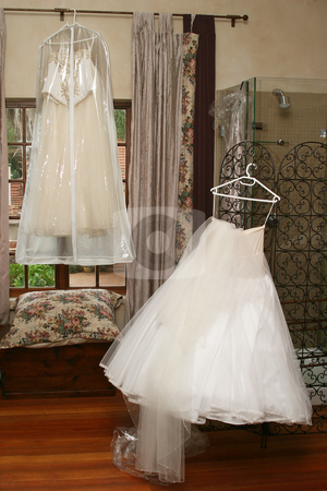 Wedding gowns stock photo, Wedding gown waiting to be donned by Sean Nel